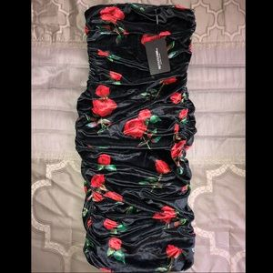 95c1d50ae62 PrettyLittleThing Dresses - Black tube dress with roses